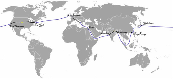 Phileas Fogg Map Journey